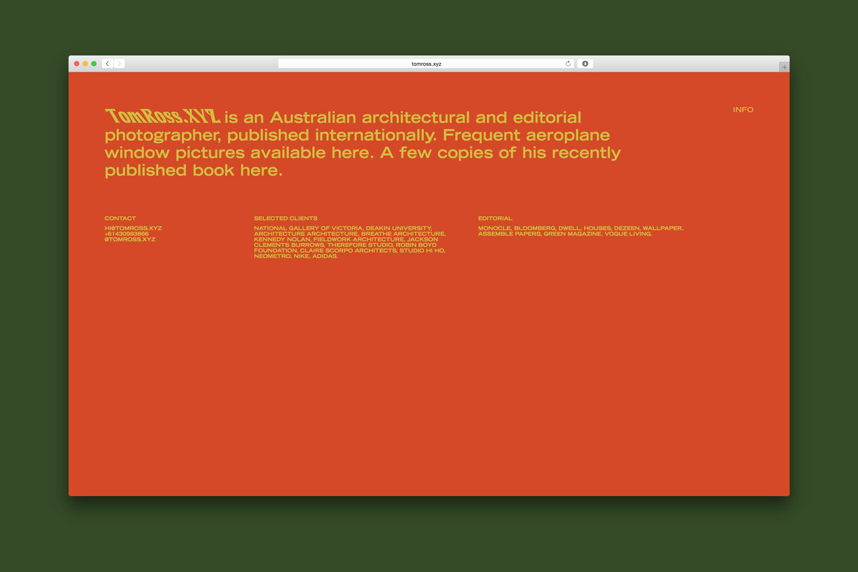 TomRoss.xyz website by Confetti Studio